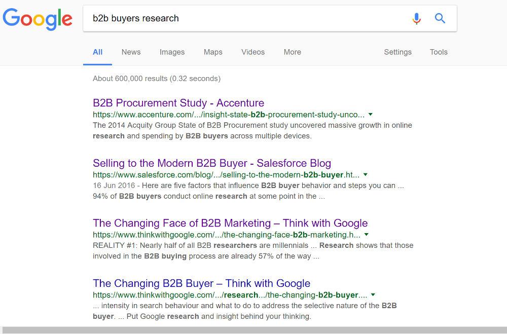 google b2b buyer research